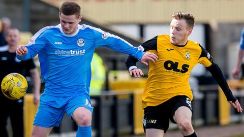 East Fife striker Jamie Insall, right