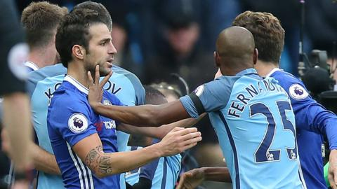 Chelsea and Man City players clash