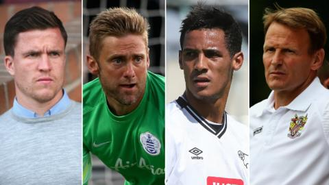 Gary Caldwell, Robert Green, Thomas Ince and Teddy Sheringham