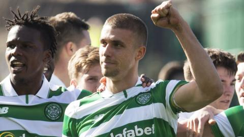 Jose Simunovic celebrates his goal for Celtic