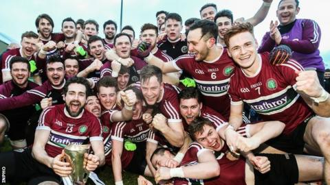 St Mary's celebrate their surprise win over UCD in the 2017 Sigerson Cup final