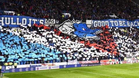 Rangers fans welcome their side's return to European competition
