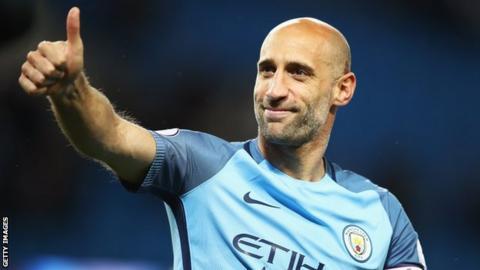 Pablo Zabaleta given a heroic farewell by Manchester City