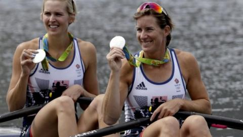 Katherine Grainger and double sculls partner Vicky Thornley celebrate their silver medal