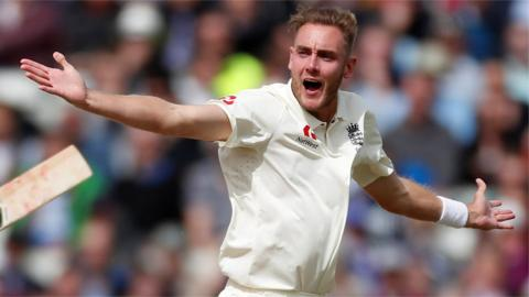Stuart Broad reacts