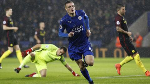 Jamie Vardy opens the scoring for Leicester