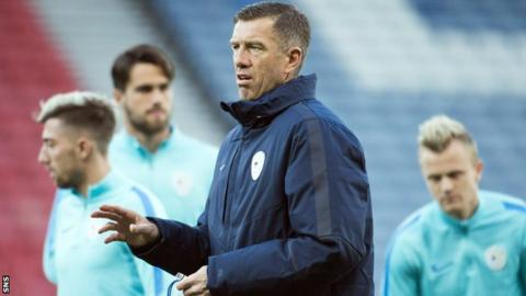 Slovenia head coach Srecko Katanec takes training at Hampden