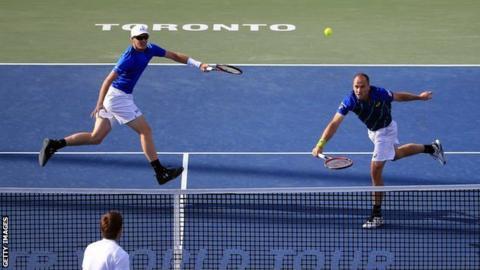 Jamie Murray (top left) and Bruno Soares in Toronto
