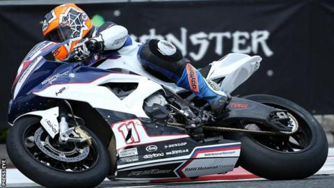 Stephen Thompson in action in superbike practice at this year's North West 200