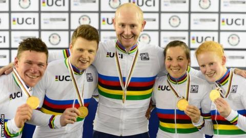 Britain's Matt Rotherham, James Ball, Jon Gildea, Corrine Hall and Sophie Thornhill celebrate their gold medals