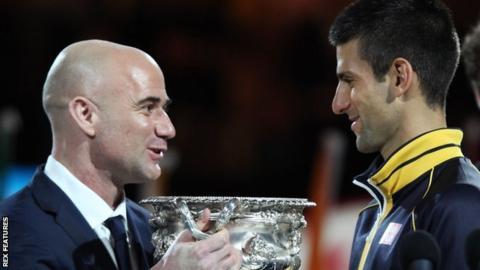 Andre Agassi and Novak Djokovic