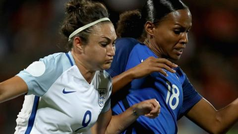 Jodie Taylor of England and Marie-Laure Delie of France