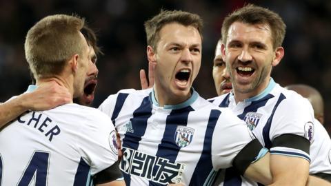 Jonny Evans celebrates his goal for West Brom against Watford