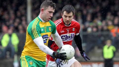 Donegal's Patrick McBrearty in action against Cork