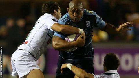 Taufa'ao Filise in action for Cardiff Blues against Pau