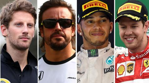 Romain Grosjean, Fernando Alonso, Lewis Hamilton & Sebastian Vettel
