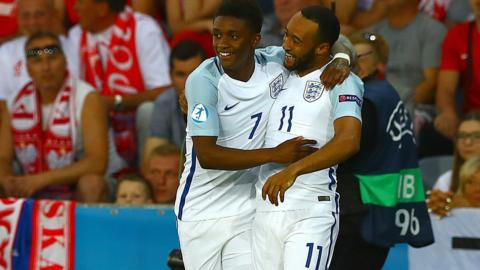 Demarai Gray of England celebrates