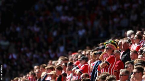 Southampton fans at home match against Stoke