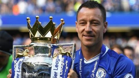 Chelsea's John Terry with the Premier League trophy
