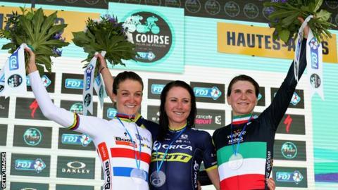 Lizzie Deignan second in La Course as Annemiek van Vleuten prevails