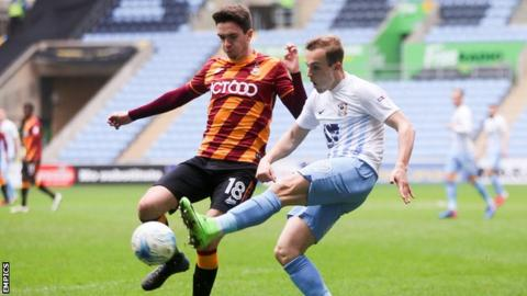 Alex Gilliead playing for Bradford at Coventry