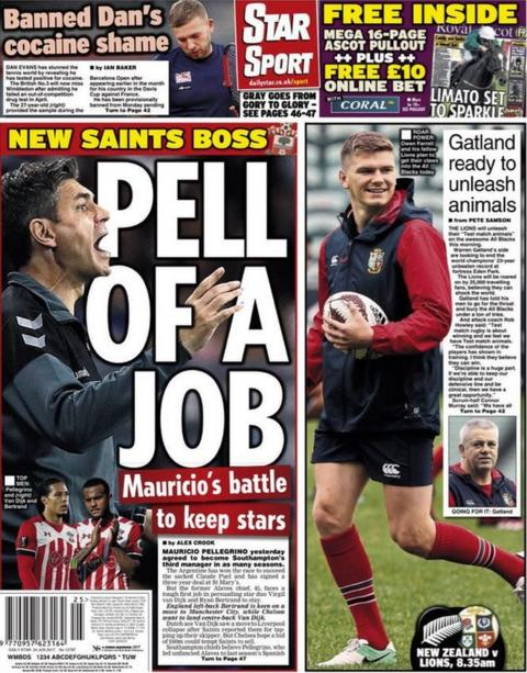 The Star also run with Mauricio Pellegrino and his battle to keep players at Southampton