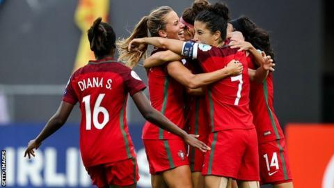 Portugal Women celebrate Ana Leite's goal