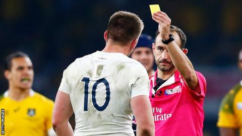 Owen Farrell's late sin-binning saw England finish the defeat to Australia with 14 men