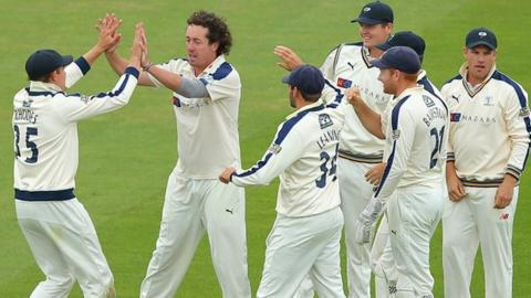 Yorkshire's players celebrate another Ryan Sidebottom scalp at Edgbaston
