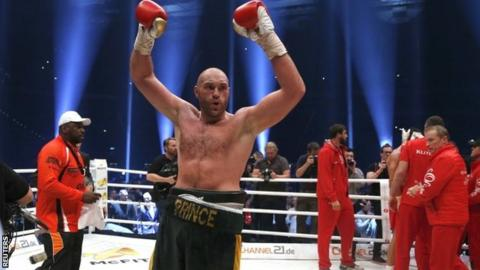 Tyson Fury celebrates victory