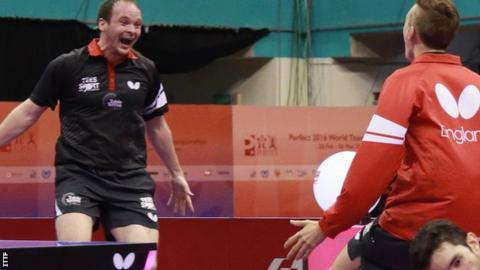 England's Paul Drinkhall (left) is world number 72