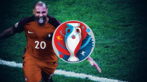 Ricardo Quaresma celebrates his winning penalty for Portugal