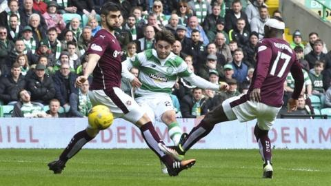 Patrick Roberts scores for Celtic against Hearts