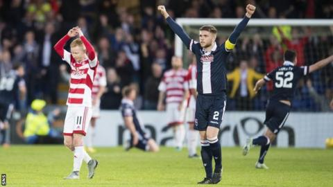 Ross County celebrate their 3-2 win over Hamilton