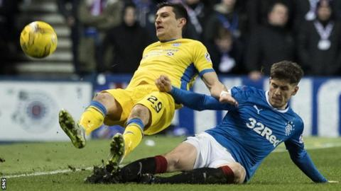 Rob Kiernan slides in to tackle St Johnstone's Graham Cummins