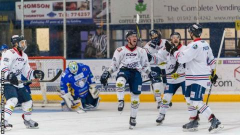 Cale Tanaka leads the celebrations as Fife Flyers seal a play-off berth