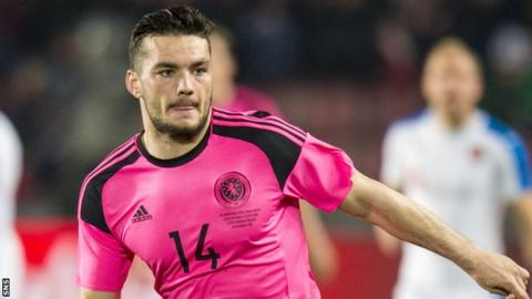 Tony Watt in action for Scotland against the Czech republic in March