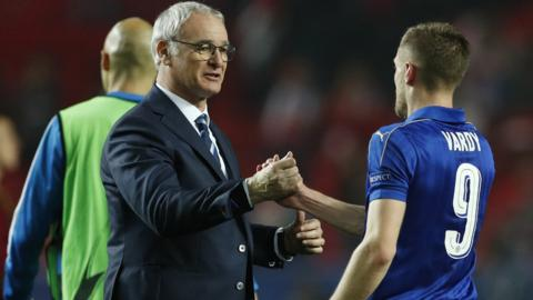 Claudio Ranieri and Jamie Vardy at full-time