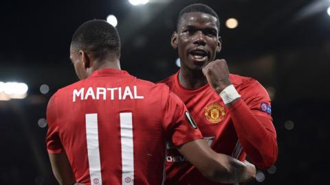 Manchester United's Paul Pogba and Anthony Martial celebrate scoring