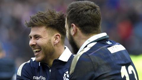 Scotland's Ali Price celebrates against Wales