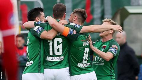 Cork City players congratulate match-winner Gearoid Morrissey