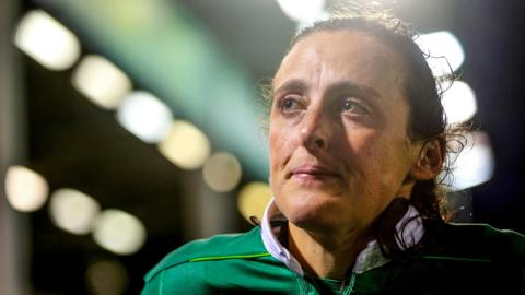 Hannah Tyrrell shows her disappointment after Ireland's defeat by France