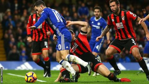 Chelsea's Eden Hazard is fouled by Bournemouth's Simon Francis