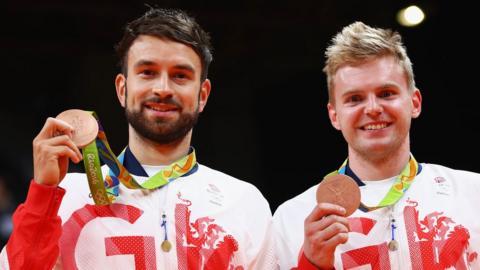 Bronze medallists Chris Langridge (left) and Marcus Ellis