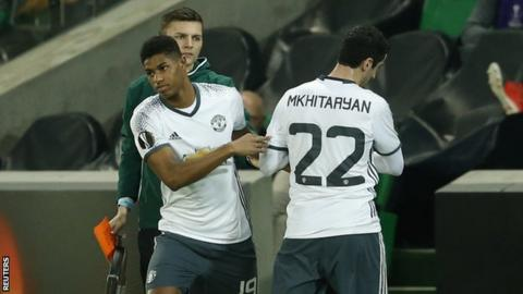Marcus Rashford replaces the injured Henrikh Mkhitaryan