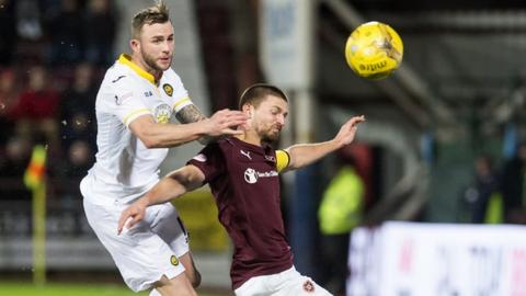Partick Thistle's Christie Elliott battles with hearts' Perry Kitchen