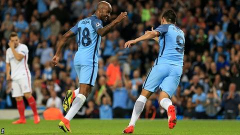 Fabian Delph celebrates his goal for Manchester City
