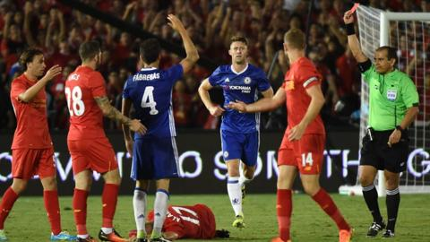 Cesc Fabregas sent off against Liverpool