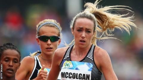 Eilish McColgan (right) competes in the 5000m in FBK Games in Hengelo, Netherlands on 22 May