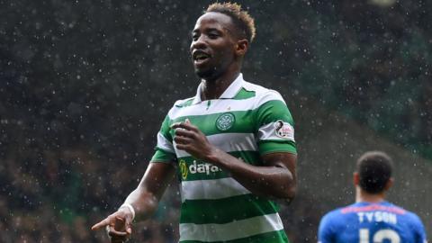 Moussa Dembele celebrates his second goal for Celtic